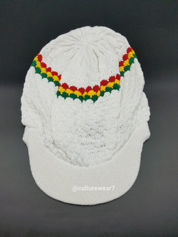 Rasta Hat White/Red, Gold, Green stripe #55