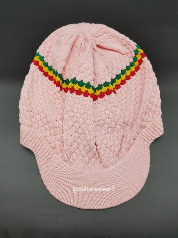 Rasta Hat Pink/Red, Gold, Green stripe #57