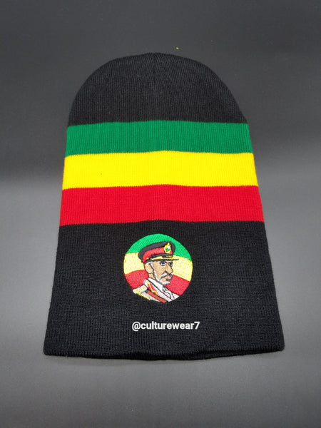 Haile Selassie Rasta Beanie Black, Red, Gold, Green #49
