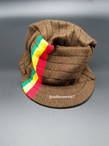 Rasta Hat Brown/ Red, Gold, Green stripe #53
