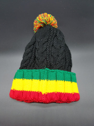 Rasta Beanie with ball Black/ Red, Gold, Green #25