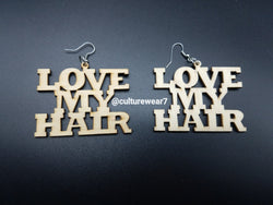 Love My Hair Wooden Earrings