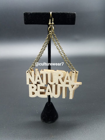 Natural Beauty Triangle Shape Wooden Earrings