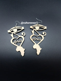 Africa Wooden Heart Earrings w Eye