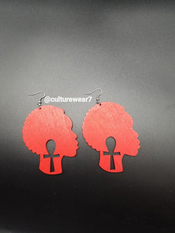 Red Afro & Ankh Wooden Earrings
