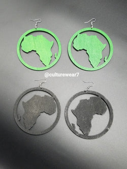 African Map Round Wooden Earrings