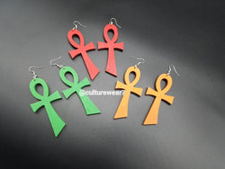 Ankh Wooden Earrings Large