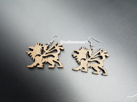 Lion of Judah Wooden Earrings