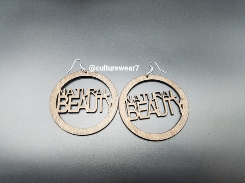 Natural Beauty Round Wooden Earrings