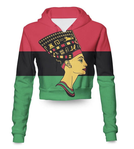 Queen Nefertiti African Crop Top Hoodie