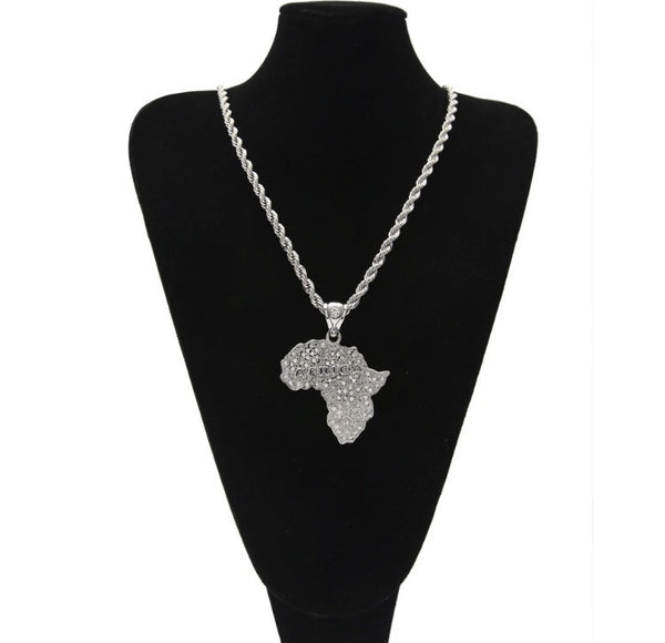 Africa Map Pendant with the word Africa & Chain