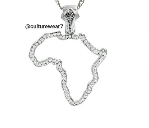 Small Silver Africa Map Pendant & Necklace