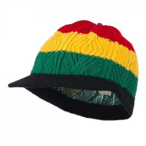 Rasta Hat Black Brim/ Red, Gold, Green big stripes #15