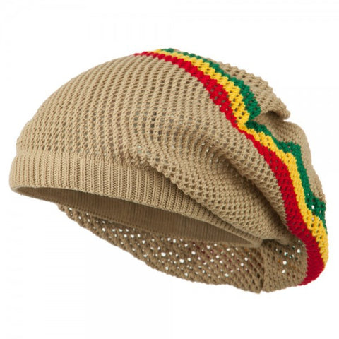 Rasta Hat Beige/ Red, Gold, Green stripe  #14