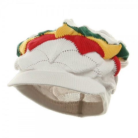 Rasta Hat White/ Red, Gold, Green Triangle stripe #10