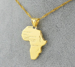 Small Gold Africa Map Pendant & Necklace