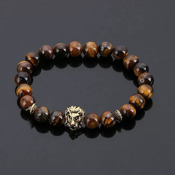 Tiger Eye w Lion Bead Bracelet/ Charcoal w Lion