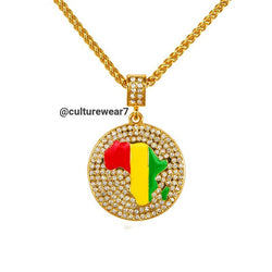 Africa Map Red, Gold, Green Pendant & Chain