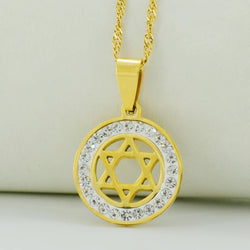 Small Gold Star of David Pendant & Necklace