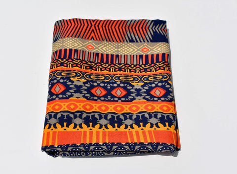 Headwrap Navy, Orange, Gray