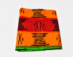 Headwrap African Print Red, Orange, Black, Green