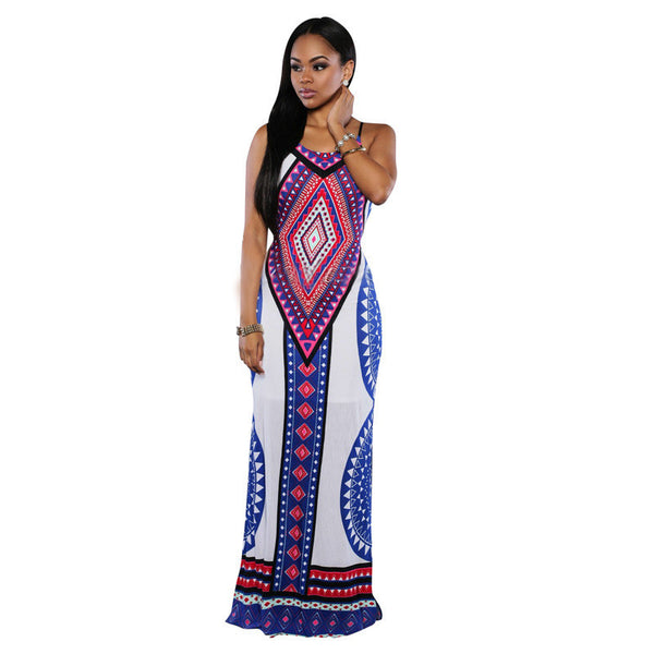 Dashiki Dress Long White/ Blue, Pink