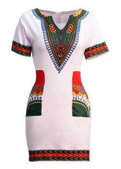 Dashiki Dress White/ Red, Green