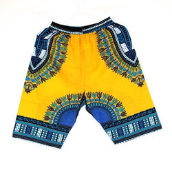 Dashiki Shorts Yellow & Blue