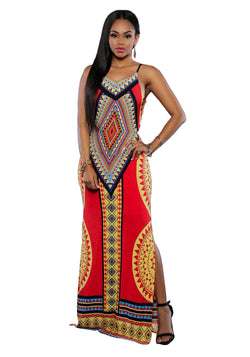 Dashiki Dress Red