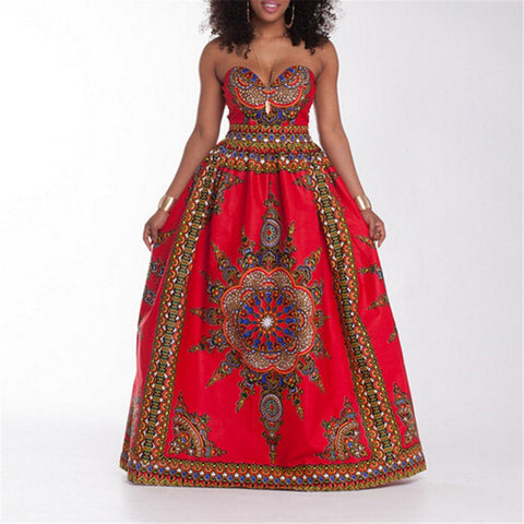 Dashiki Halter Dress Red