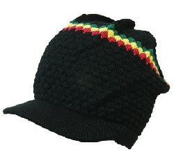Rasta Hat Black/ Red, Gold, Green stripe #2
