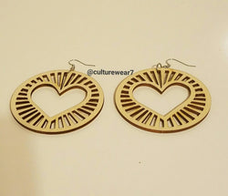 Round Wooden Earrings w Heart Inside