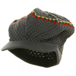Rasta Hat Gray/ Red, Gold, Green stripe #33