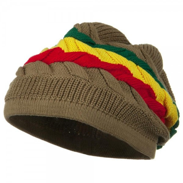 Rasta Hat Khaki/ Red, Gold, Green stripe #34