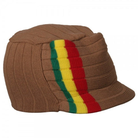 Rasta Hat Khaki/ Red, Gold, Green stripe #39