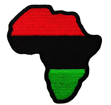African Map Red, Black, Green Patch