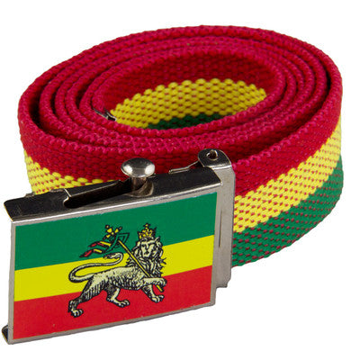 Lion of Judah Red, Gold, Green Canvas Belt