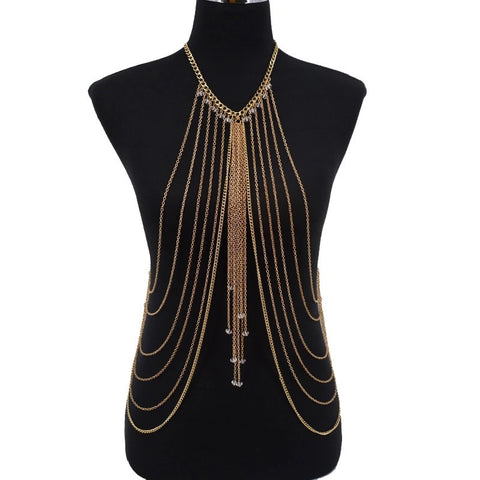 Gold Beach Bikini Multi Chain Waist Full Body Chain Necklace