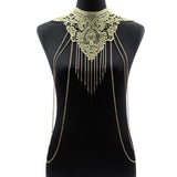 Lace Flower Gold Body Chains Necklace Multilayer Chain