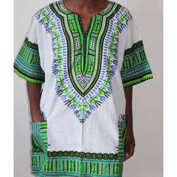 Dashiki White/ Blue, Green, Black