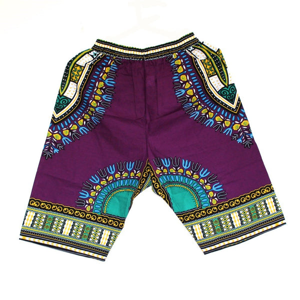 Dashiki Shorts Purple