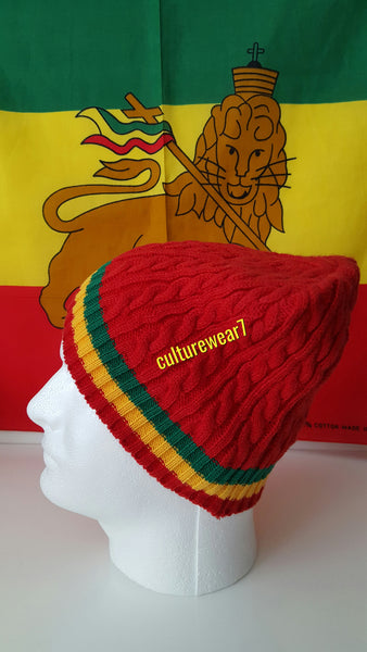 Rasta Beanie Red/ Red, Gold, Green #43