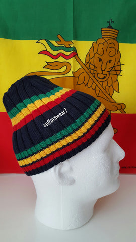 Rasta Beanie Navy Blue/ Red, Gold, Green #42