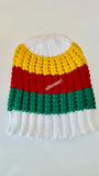 Rasta Beanie White/ Red, Gold, Green #44