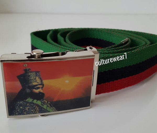 Haile Selassie Red, Black, Green Canvas Belt