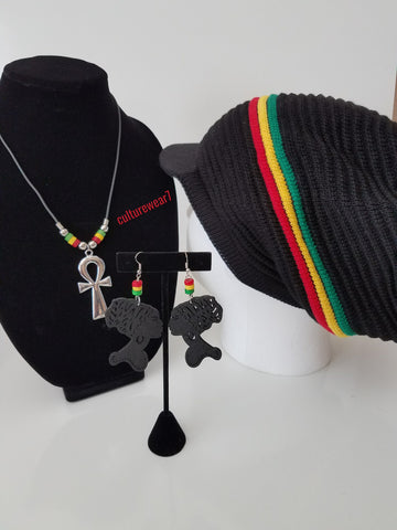 Rasta Hat, 3 Bead African Lady Earrings & Ankh Necklace Combination