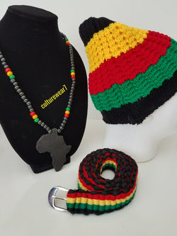 Rasta Beanie, Rasta Belt & African Map Necklace Set