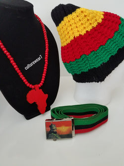 Rasta Beanie, Haile Selassie Belt & African Map Necklace Set