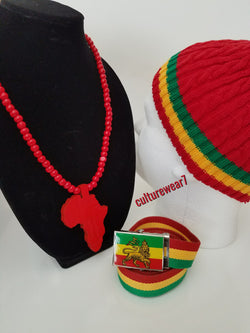 Rasta Beanie, Lion of Judah Belt & African Map Necklace Set
