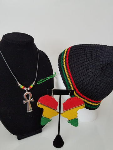 Rasta Beanie, African Map Earrings & Ankh Necklace Set